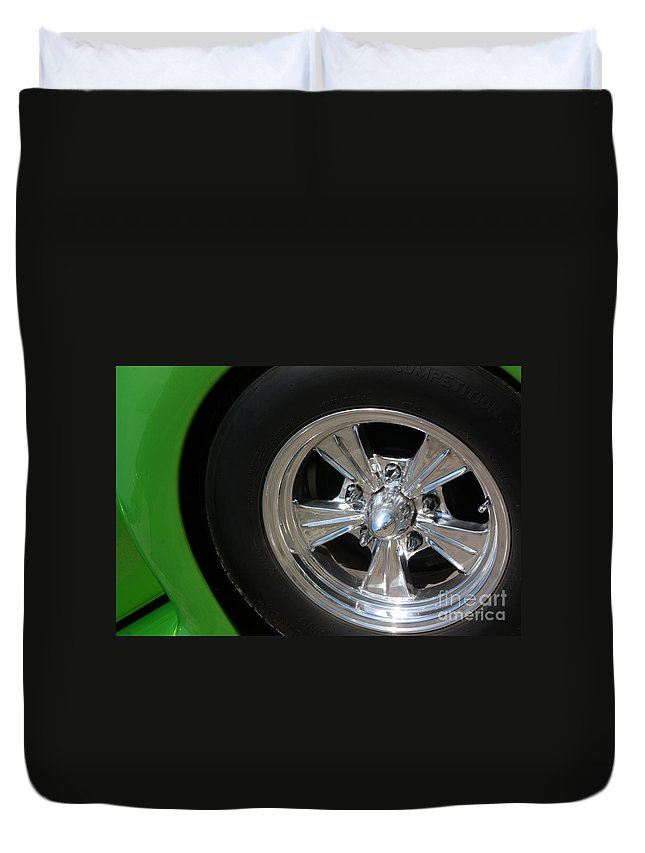 1940 Duvet Cover featuring the photograph 40 Ford-driver Rear Wheel 2-8577 by Gary Gingrich Galleries