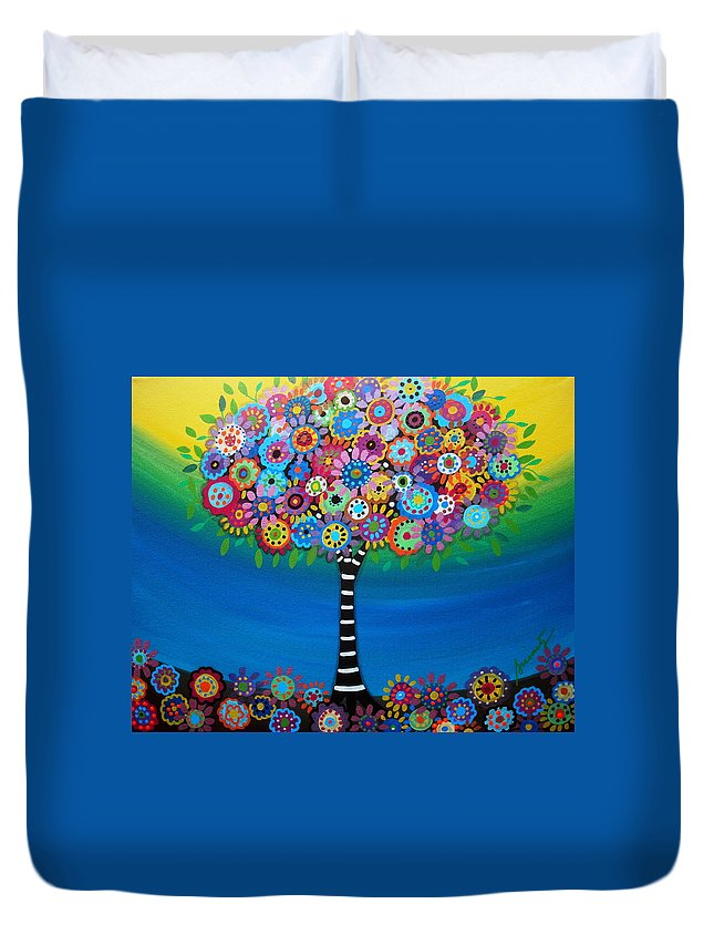 Tree Of Hope Life Pristine Flowers Trees Blooms Prisarts Mexican Original Painting Happy Fall Autumn Summer Birthday Gift Bar Bat Mitzvah Congratulations Baby Room Nursery Home Design Cartera Turkus Duvet Cover featuring the painting Tree Of Life by Pristine Cartera Turkus