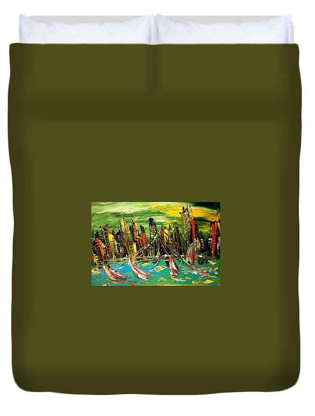 Landscape Framed Prints Paintings Paintings Duvet Cover featuring the painting City by Mark Kazav