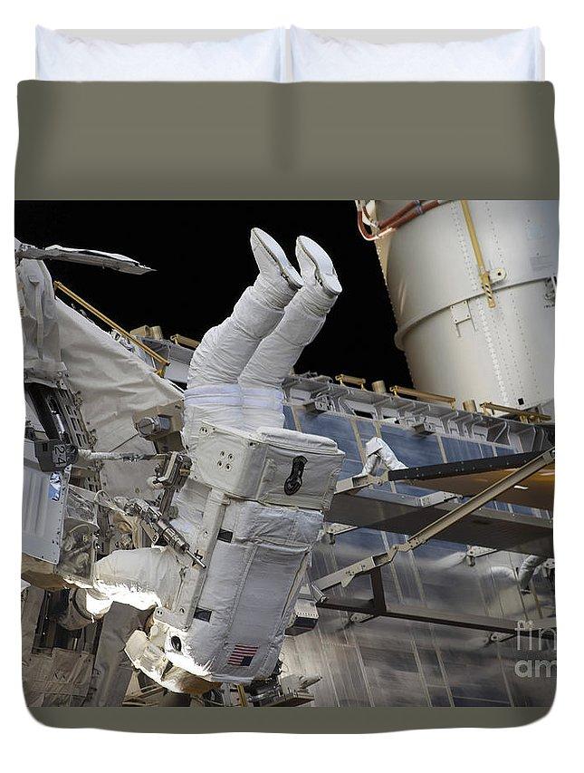 Construction Duvet Cover featuring the photograph Astronaut Participates by Stocktrek Images