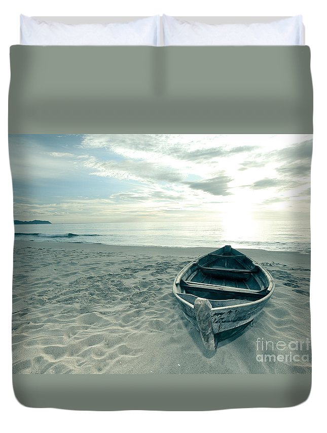 Boat Duvet Cover featuring the photograph Boat by MotHaiBaPhoto Prints