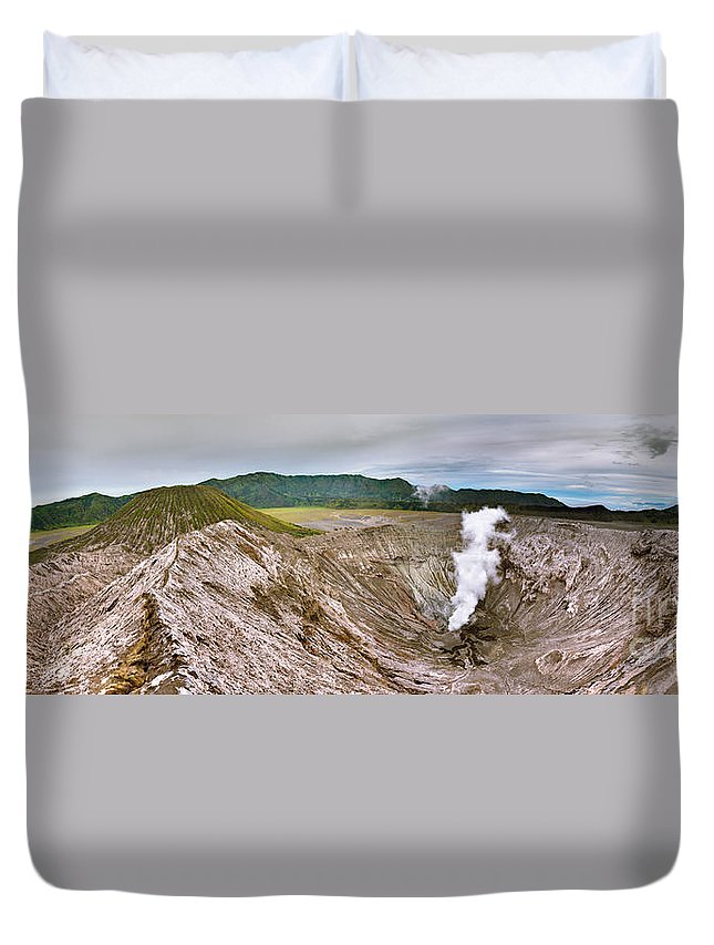 Crater Duvet Cover featuring the photograph Bromo Crater by MotHaiBaPhoto Prints