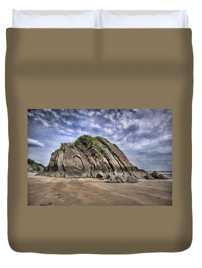 Goscar Rock Tenby Duvet Cover featuring the photograph Goscar Rock Tenby by Steve Purnell