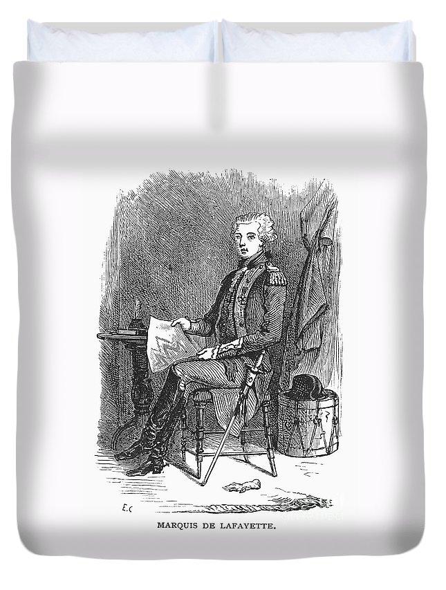 18th Century Duvet Cover featuring the photograph Marquis De Lafayette by Granger
