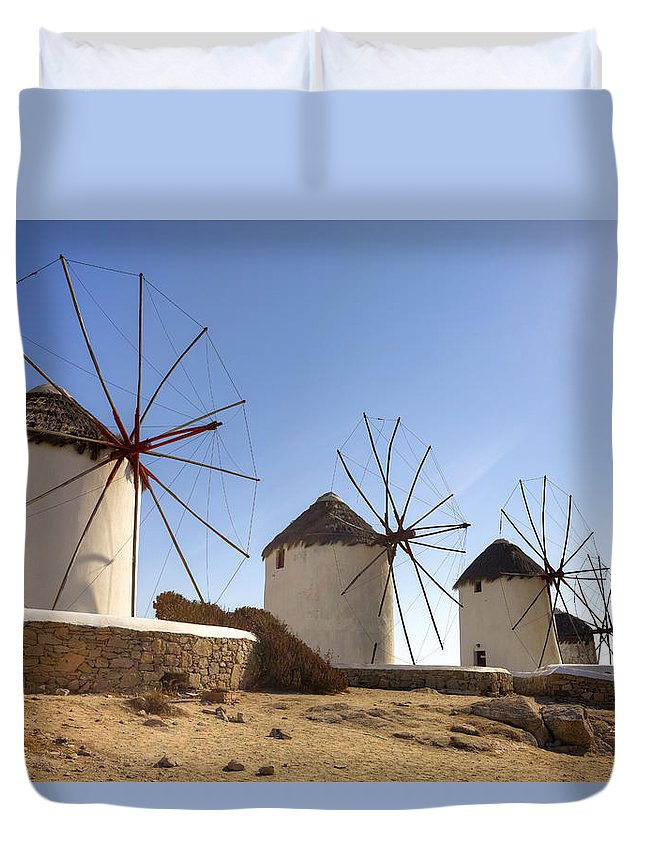 Windmills Duvet Cover featuring the photograph Mykonos by Joana Kruse