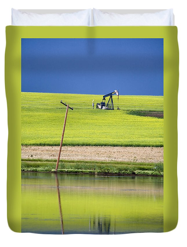 Industry Duvet Cover featuring the photograph Storm Clouds Saskatchewan by Mark Duffy