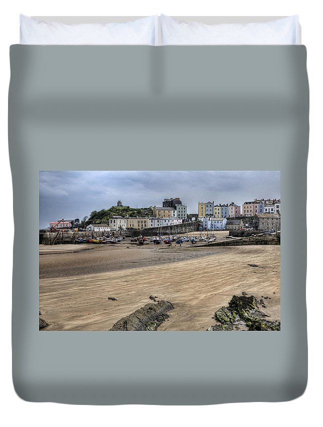 Tenby Pembrokeshire Duvet Cover featuring the photograph Tenby Harbour From North Beach by Steve Purnell