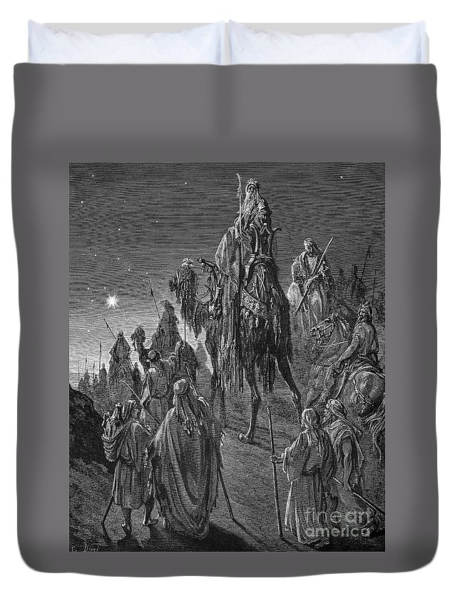 19th Century Duvet Cover featuring the photograph The Nativity by Granger
