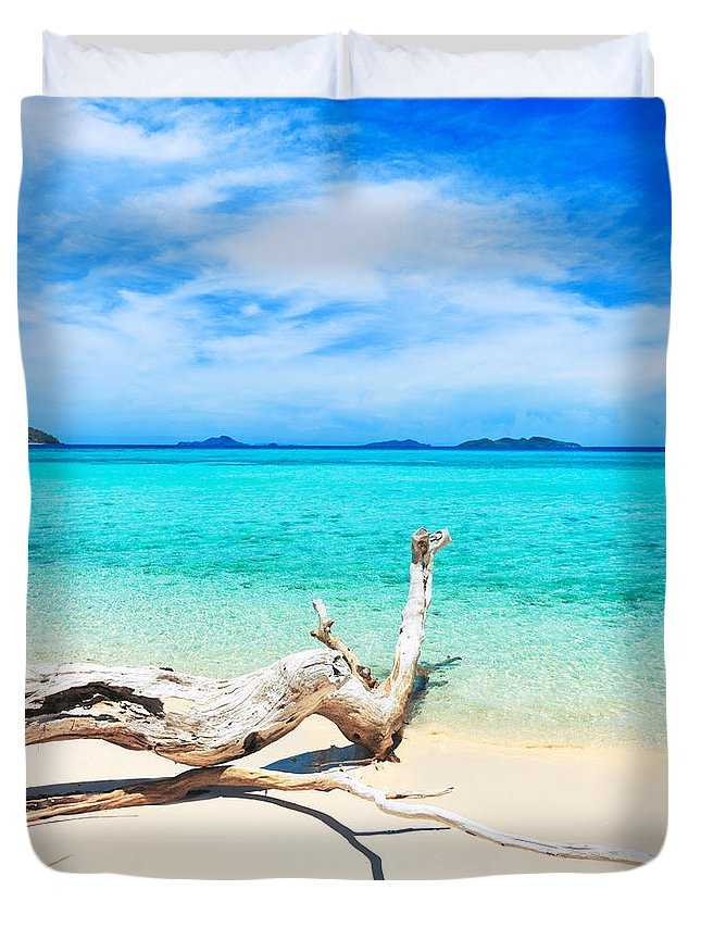 Sea Duvet Cover featuring the photograph Tropical Beach Malcapuya by MotHaiBaPhoto Prints