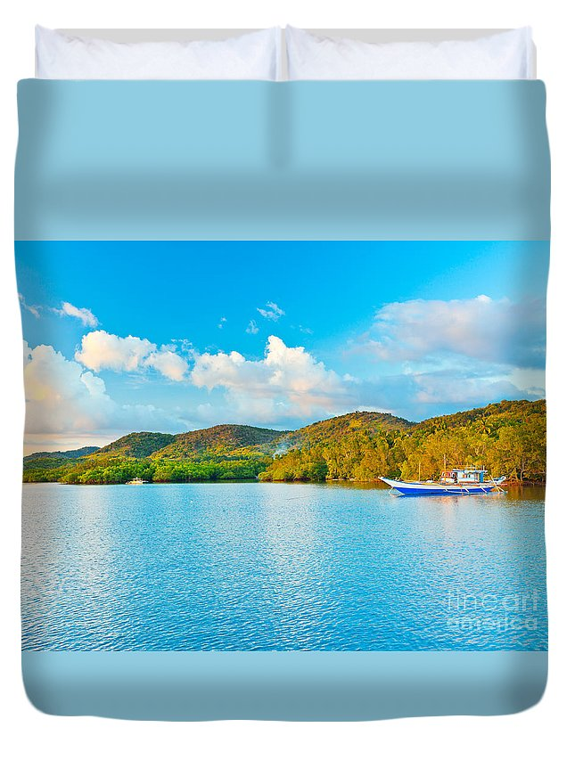Sunset Duvet Cover featuring the photograph Tropical Lagoon by MotHaiBaPhoto Prints