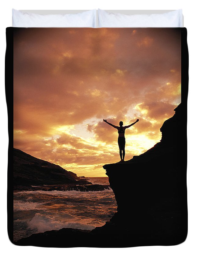 Active Duvet Cover featuring the photograph Yoga At Sunrise by Dana Edmunds - Printscapes