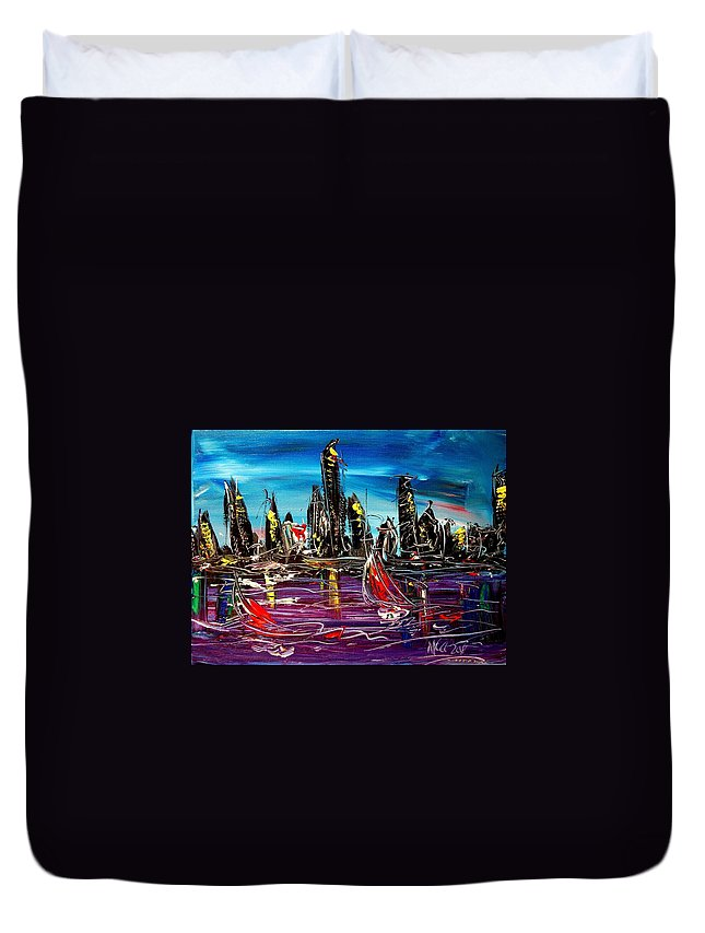 Duvet Cover featuring the painting City by Mark Kazav
