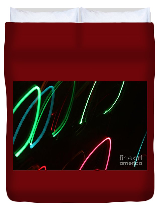 Abstract Duvet Cover featuring the photograph Abstract Motion Lights by Henrik Lehnerer