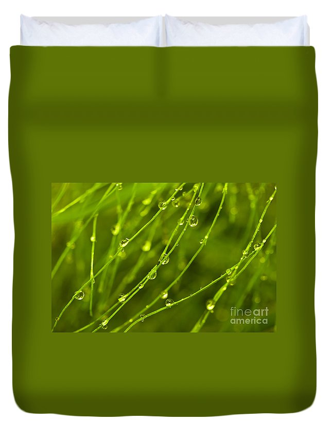 Green Duvet Cover featuring the photograph Floral Background by MotHaiBaPhoto Prints