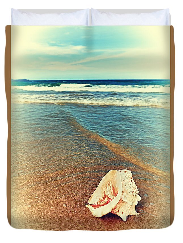 Background Duvet Cover featuring the photograph Seashell by MotHaiBaPhoto Prints