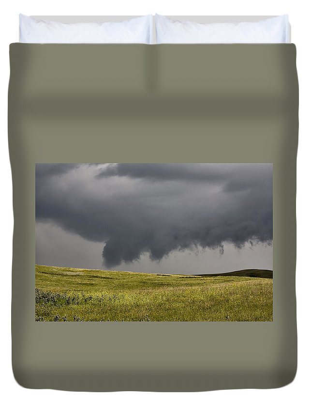 Storm Duvet Cover featuring the photograph Storm Clouds Saskatchewan by Mark Duffy