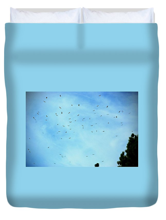 Turkey Vulture Duvet Cover featuring the photograph 74 Turkey Vultures by Eric Tressler