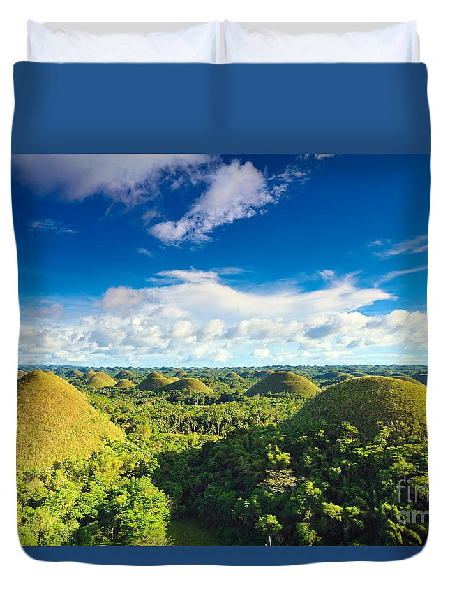 Chocolate Duvet Cover featuring the photograph Chocolate Hills by MotHaiBaPhoto Prints