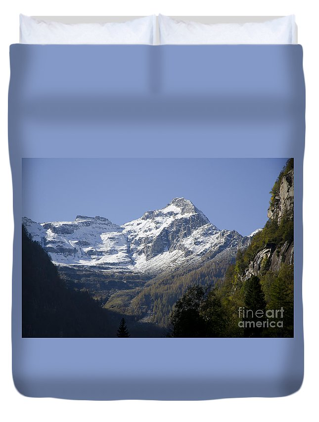 Mountain Duvet Cover featuring the photograph Snow-capped Mountain by Mats Silvan