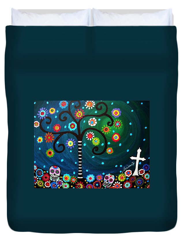 Day Of The Dead Duvet Cover featuring the painting Day Of The Dead by Pristine Cartera Turkus