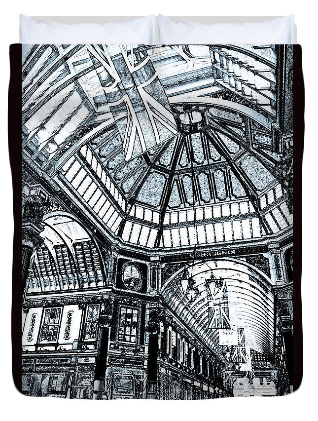 Leadenhall Duvet Cover featuring the digital art Leadenhall Market London by David Pyatt