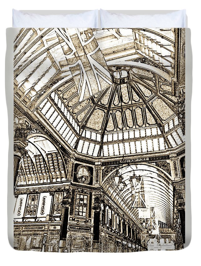 Leadenhall Duvet Cover featuring the digital art Leadenhall Market London by David Pyatt