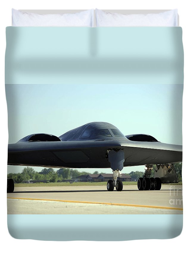 Missouri Duvet Cover featuring the photograph A B-2 Spirit Taxis Onto The Flightline by Stocktrek Images