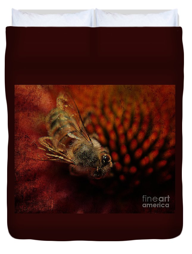 Bee Duvet Cover featuring the photograph a Bee by Billie-Jo Miller