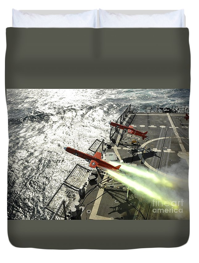 Weapon Duvet Cover featuring the photograph A Bqm-74e Aerial Drone Launches by Stocktrek Images