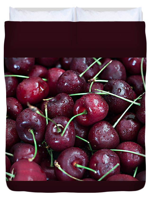 Cherry Duvet Cover featuring the photograph A Cherry Bunch by Sherry Hallemeier