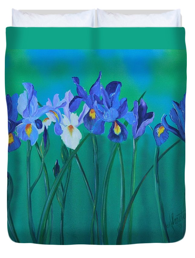 Purple Iris Duvet Cover featuring the painting A Clutch Of Irises by Almeta LENNON