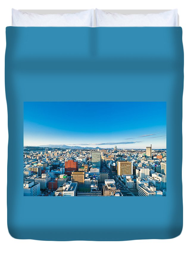 Aerial Duvet Cover featuring the photograph A Cold Sunny Day In Sendai Japan by U Schade