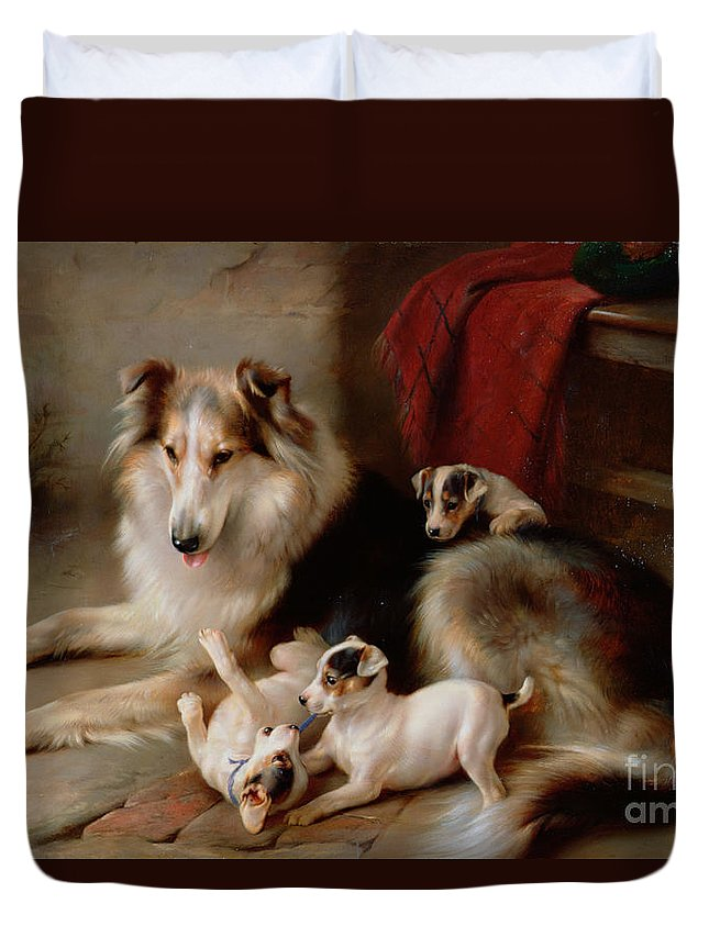 A Collie With Fox Terrier Puppies Duvet Cover For Sale By Walter Hunt