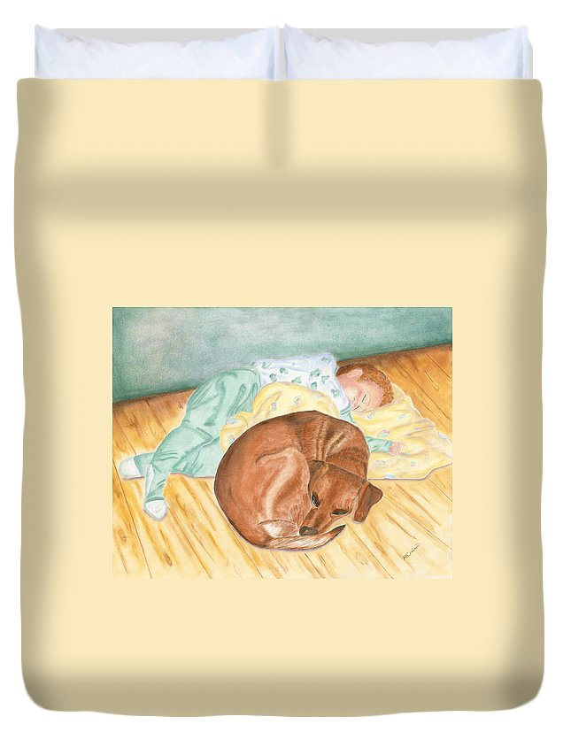 Baby Duvet Cover featuring the painting A Dog And Her Boy by Arlene Crafton