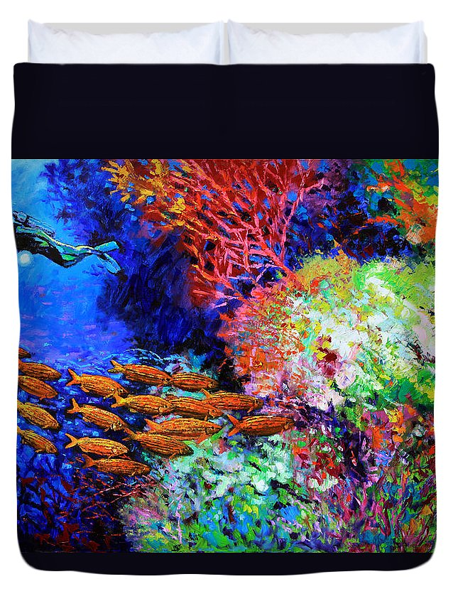 Scuba Diver Duvet Cover featuring the painting A Flash of Life and Color by John Lautermilch