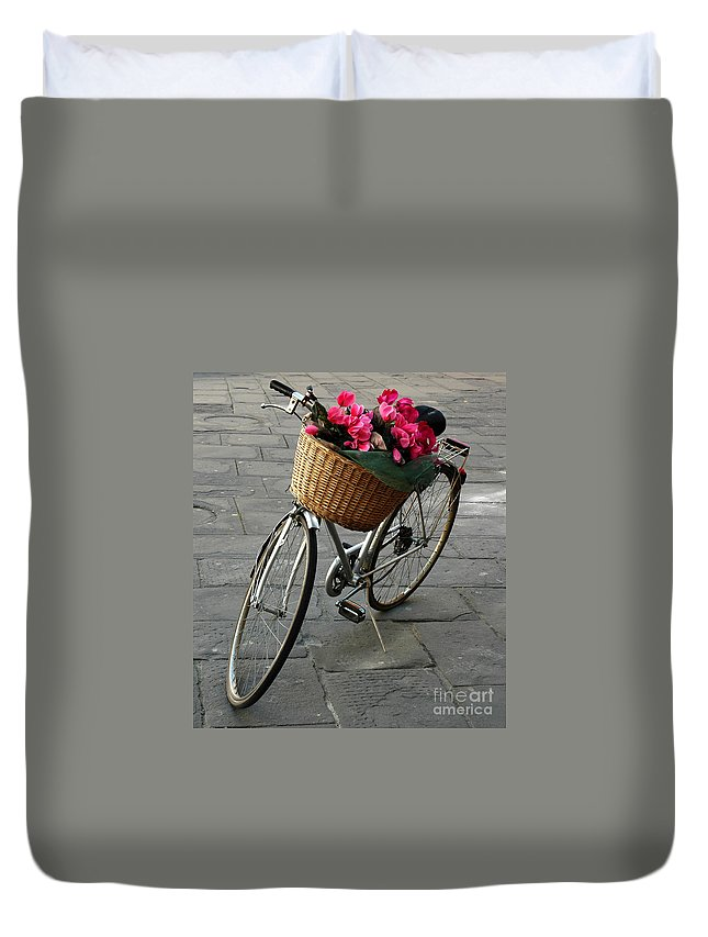 Bicycle Duvet Cover featuring the photograph A Flower Delivery by Vivian Christopher