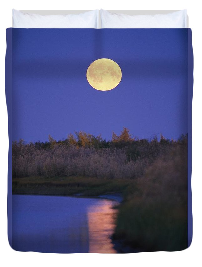 North America Duvet Cover featuring the photograph A Full Moon Is Reflected by Raymond Gehman