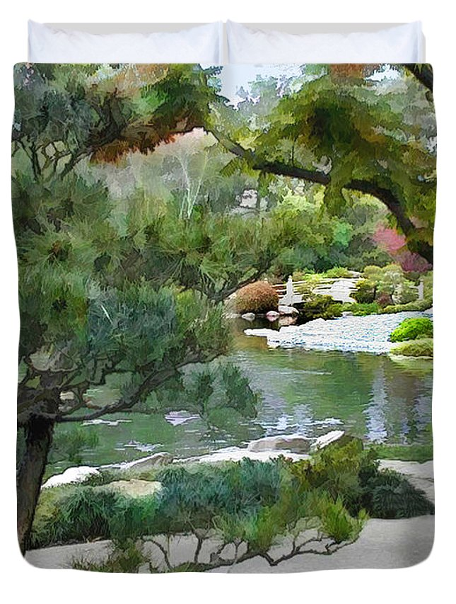 Japanese Garden Duvet Cover featuring the painting A Glimpse Of Tranquility by Elaine Plesser