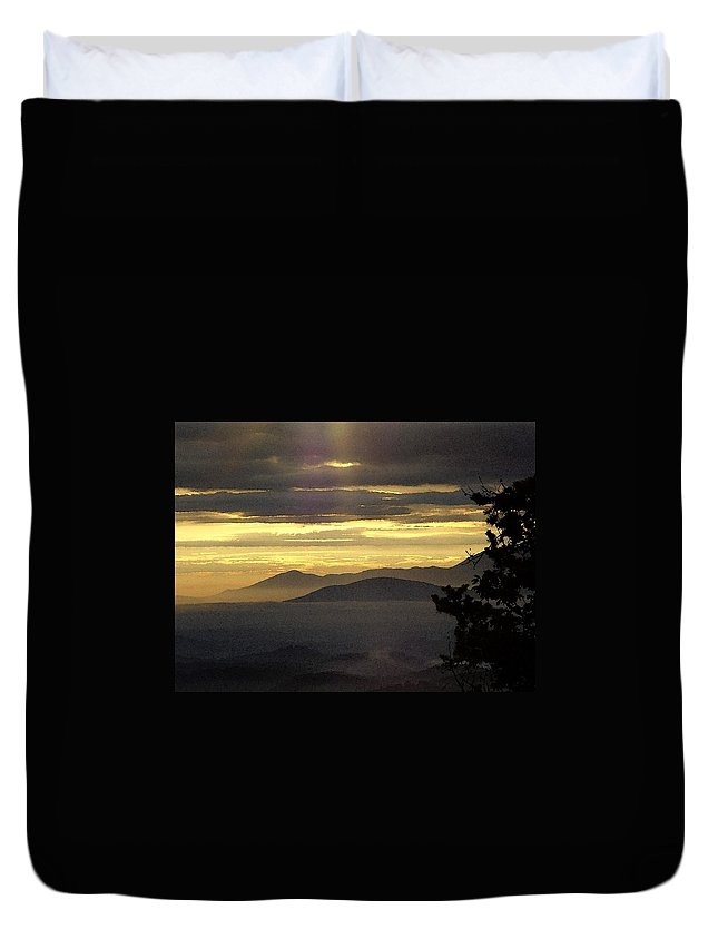 Duvet Cover featuring the digital art A Golden Morning Creation by Barkley Simpson