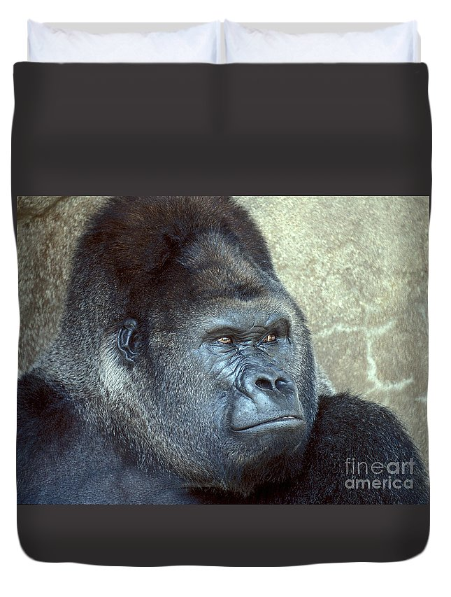 Gorilla Duvet Cover featuring the photograph A Handsome Gent by Paul W Faust - Impressions of Light