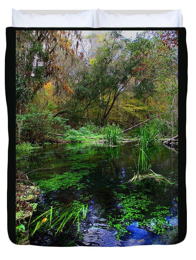 Ichnetucknee Springs Duvet Cover featuring the photograph A Hint Of Fall At Ichnetucknee Springs by Barbara Bowen