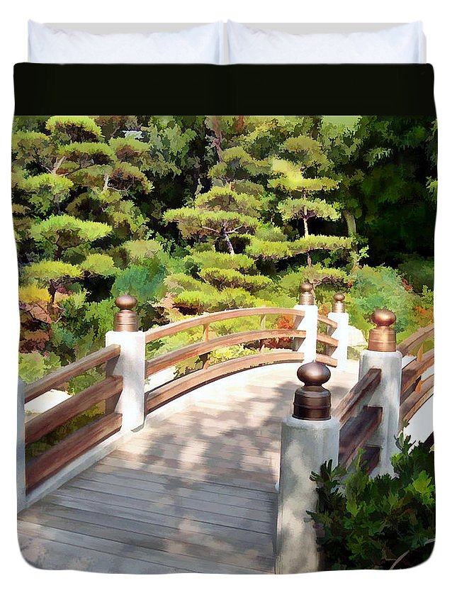 Japanese Garden Duvet Cover featuring the painting A Japanese Garden Bridge From Sun To Shade by Elaine Plesser