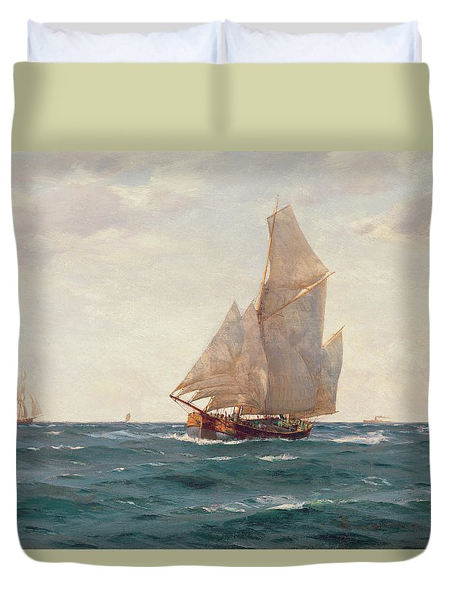 Sea; Ocean; Sails; Sail; Sailing; Ship; Boat; Sky; Clear Duvet Cover featuring the painting A Ketch And A Brigantine Off The Coast by Thomas J Somerscales