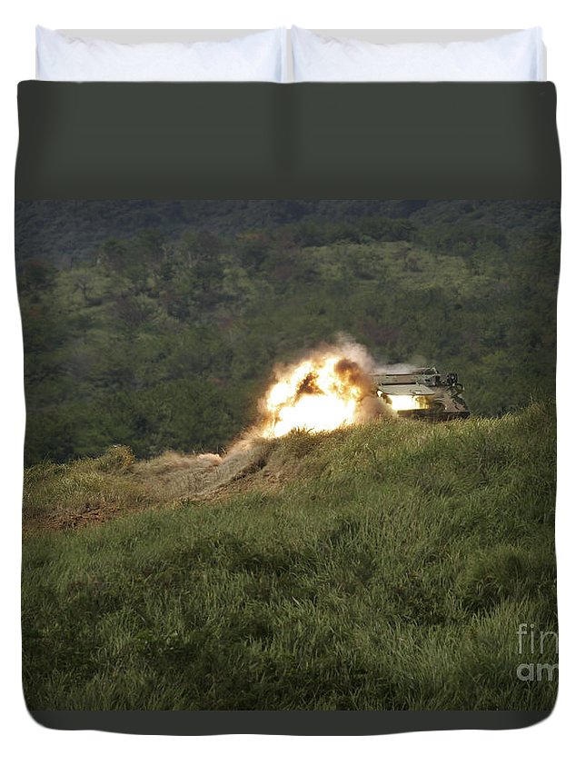 Anti-tank Duvet Cover featuring the photograph A Marine Scores A Direct Hit While by Stocktrek Images