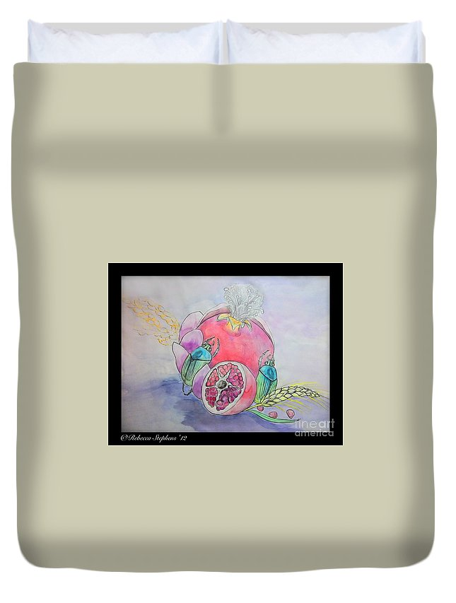 Scarab Duvet Cover featuring the painting A Mothers Love by Rebecca Stephens