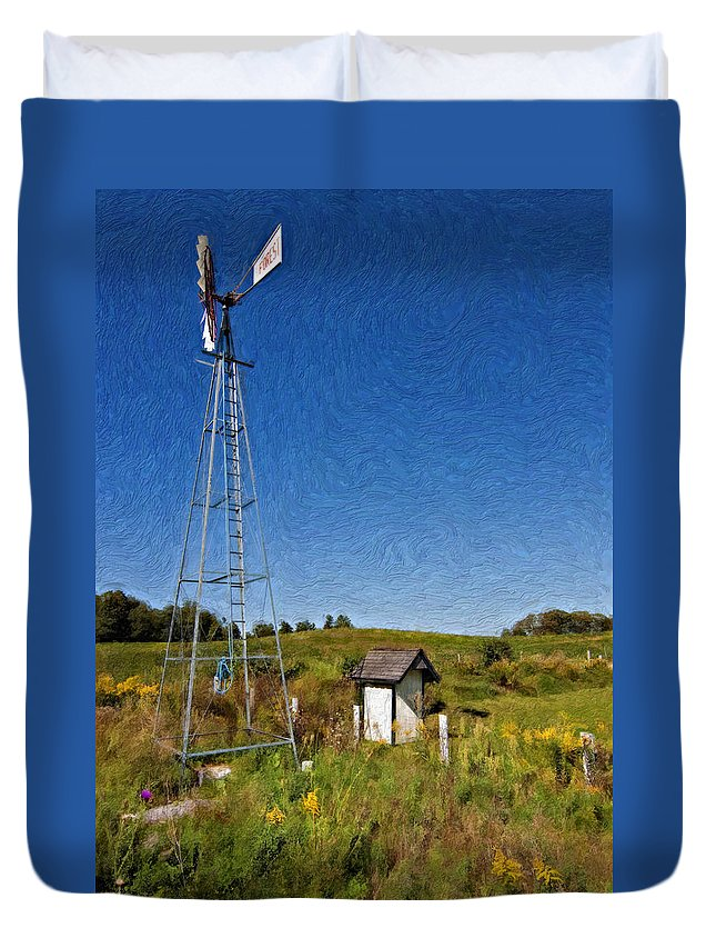 Grey Roots Museum & Archives Duvet Cover featuring the photograph A Moving Memory Impasto by Steve Harrington