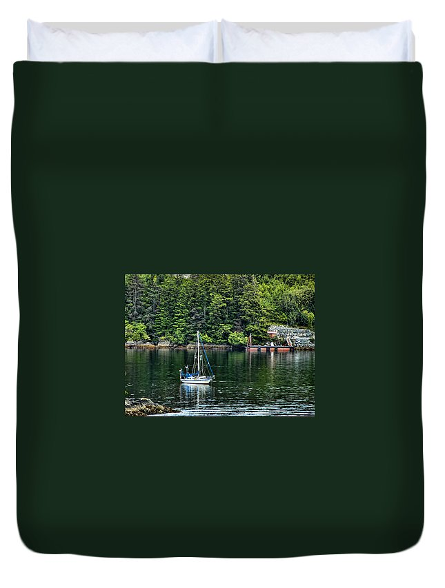 Alaska Duvet Cover featuring the photograph A Nice Day For A Sail by Jon Berghoff