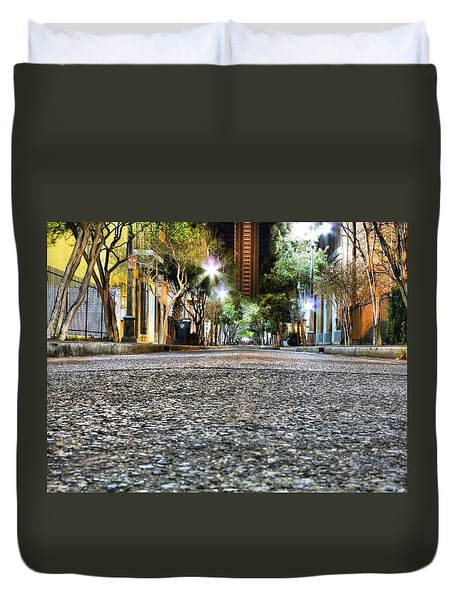 Nighttime Duvet Cover featuring the photograph A Night On The Street by Anthony Walker Sr