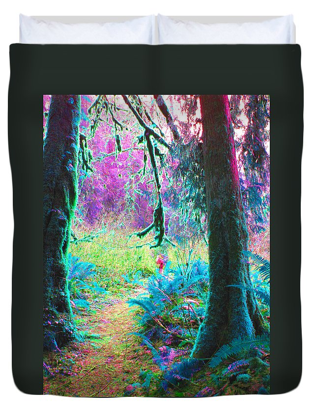 Trail Duvet Cover featuring the photograph A Path Along A River by Marie Jamieson