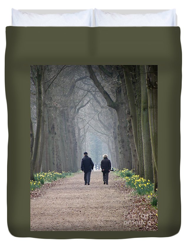 Forest Duvet Cover featuring the photograph A Peaceful Stroll by Lainie Wrightson